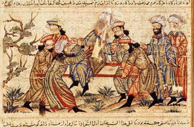رسم مخطوطة قديمة يصور لحظة اغتيال الوزير نظام الملك