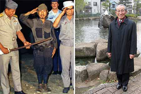 صورة اونودا وهو يستسلم .. لاحظ نظافة ملابسه بعد 30 عام من العزلة! .. وصورته وقد تقدم به العمر