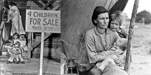 ام امريكية تضع اعلان عن بيع اطفالها .. واخرى تسكن خيمة اثناء الكساد الكبير