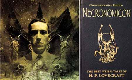 H. P. Lovecraft and his book (Necronomicon)